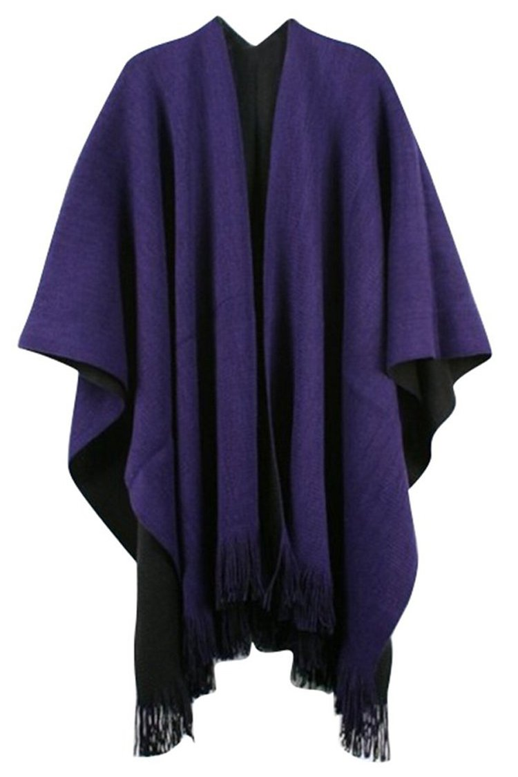 Moly Magnolia Womens Knitted Cashmere Shawl Poncho Cape Sweater Coat Purple