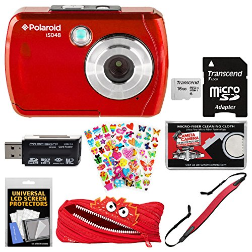 Polaroid iS048 Waterproof Digital Camera (Red) with 16GB Card + Case + Strap + Puffy Stickers + Kit