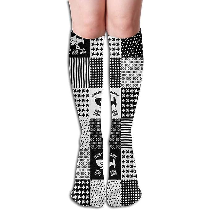 Knee High Socks White SHARK Womens Work Athletic Over Thigh High Long Stockings