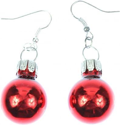 Boucles d'oreilles boules de Noël Miniblings baubles gloss rouge