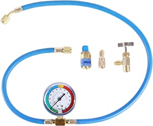 """JIFETOR AC Charge Hose with Gauge for R134A R12 R22, Car HVAC Refrigerant Recharge Kit, Home Air Conditioning U Charging Hose Low Pressure Meter 1/4"""" Fittings Can Tap Quick Coupler Adapter, 42"""" Long"""
