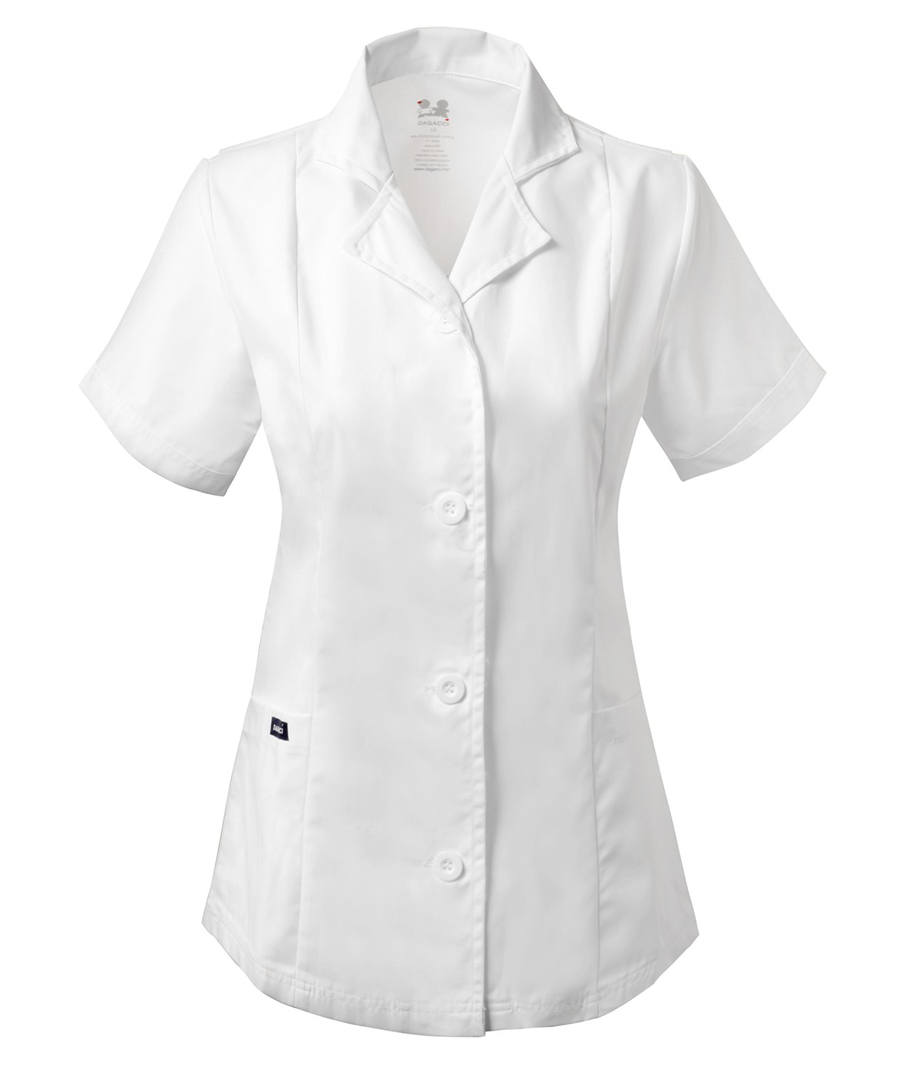 Dagacci Scrubs Medical Uniform Women's Chest Comfortable Short Sleeve Lab Coat (Small)