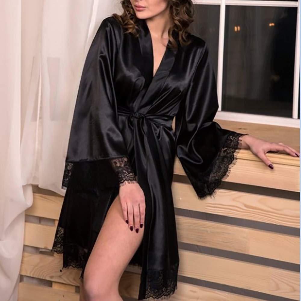 Pervobs Women Sleepwear Lingerie Sexy Soft Lace Temptation Belt Underwear Nightdress(S, Black) by Pervobs Tunics (Image #3)