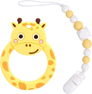 Flantor Baby Teether Silicone Teether Toy with Pacifier Clip Holder Set for Newborn Babies,Food Grade BPA Free Silicone Teether, for Boy and Girl (Giraffe-Yellow)