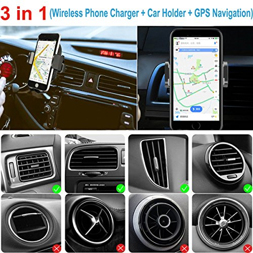 Wireless Car Charger, 2 in 1 10W Fast Wireless Charger Air Vent & Bracket Phone Holder for iPhoneX/8/8 Plus, Samsung Galaxy S9/S9+/Note 8/S8/S8 Plus/S7/S6 Edge All Qi Enabled. by DRTJ (Image #7)