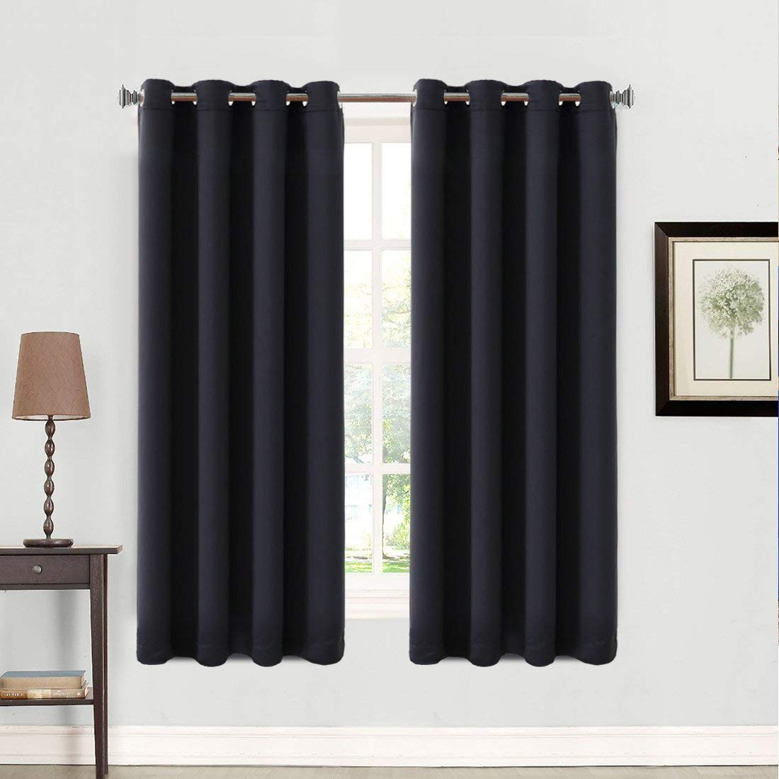Balichun 99% Blackout 2 Panels Curtains Thermal Insulated Grommets Drapes for Bedroom 52 by 63 Inch Black