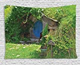 Ambesonne Hobbits Tapestry Wall Hanging, Fantasy Hobbit Land House in Magical Overhill Woods Movie Scene Image New Zealand, Bedroom Living Room Dorm Decor, 80 W X 60 L inches, Green Brown Blue