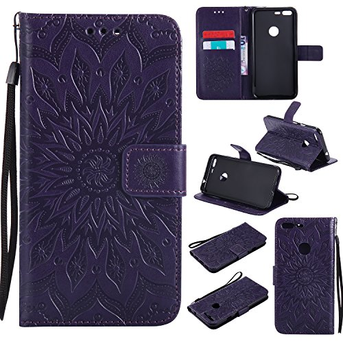 Price comparison product image Google Pixel XL Wallet Case, A-slim(TM) Sun Pattern Embossed PU Leather Magnetic Flip Cover Card Holders & Hand Strap Wallet Purse Case for Google Pixel XL - Purple