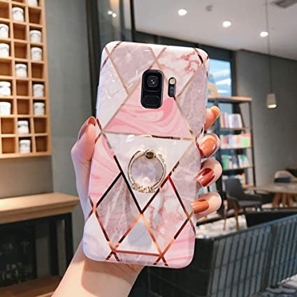 Herbests Compatible with Samsung Galaxy S9 Case Marble Design Bling Glitter Sparkle Women Girls Ultra Thin Glossy Soft TPU Case Soft Silicone Cover Protective Phone Case,Green
