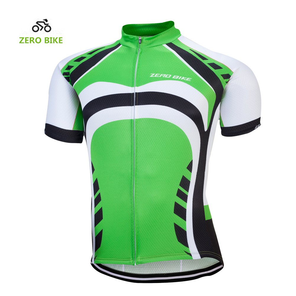 ZEROBIKE® Men Short Sleeve Cycling Jersey Breathable Full-Zipper Shirts Quick Dry karru