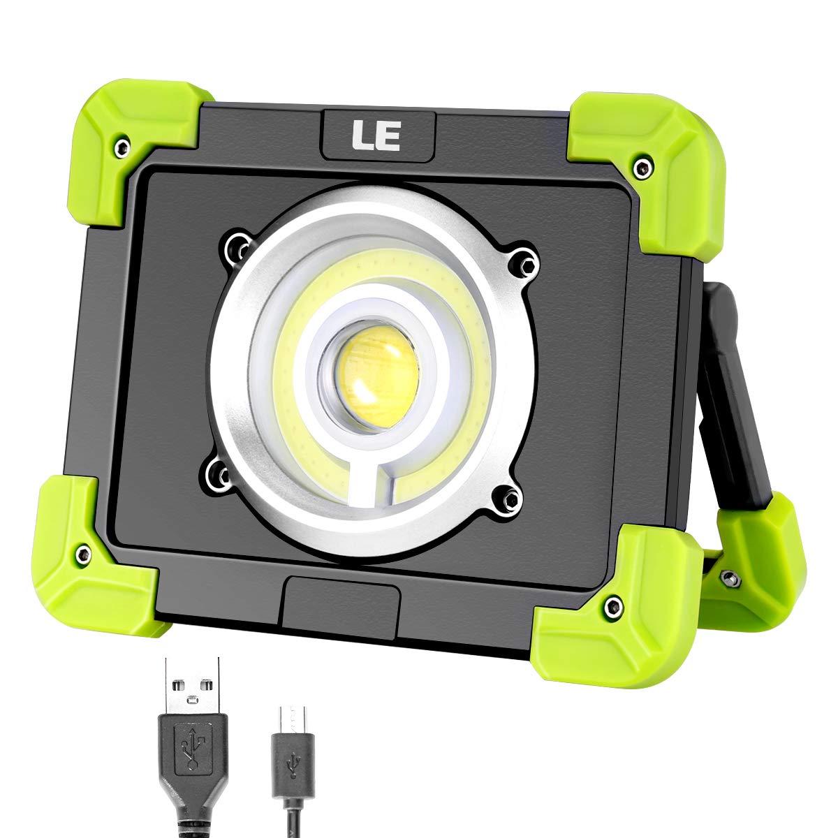 LE Foco LED 20W 1700lm Recargable, 3 Modos, con Luz Roja, Batería 6000mAh, Resistente al agua, Luz de Trabajo [Clase de eficiencia energética A+]