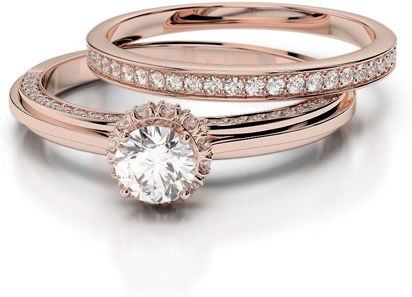 Oro rosa/oro blanco/oro amarillo/Platinum Diamond Juego de Anillos de Boda agdr-2033-ih