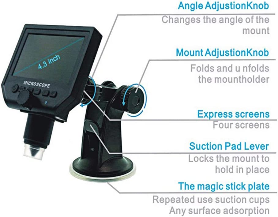 Black DEYE Microscope,4.3 Inch Portable Large Screen Digital Microscope 600X Electron Microscope USB LED Light HD 3.6 Megapixel with 1080P// 720P//VGA Wide Use