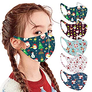 Mallocat 5PC Kids Face_Masks Christmas Print Breathable Seamless Reusable Washable Cotton Cloth Face Bandanas Shields Protective for Children Students Back to School