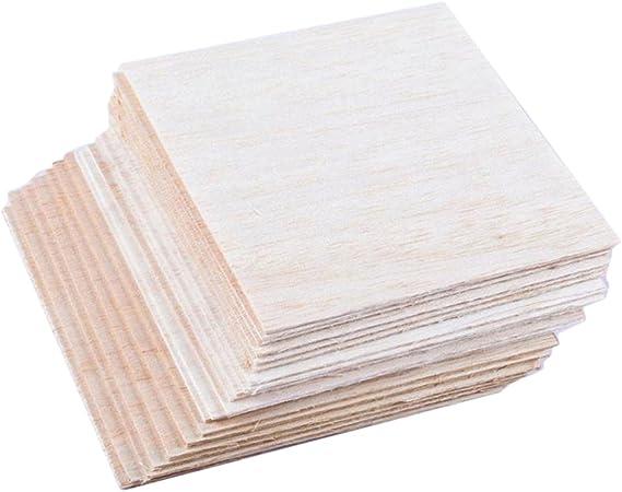 20Pcs DIY Model Material Wooden Plates Balsa Wooden Sheets 100 x100 x 1mm