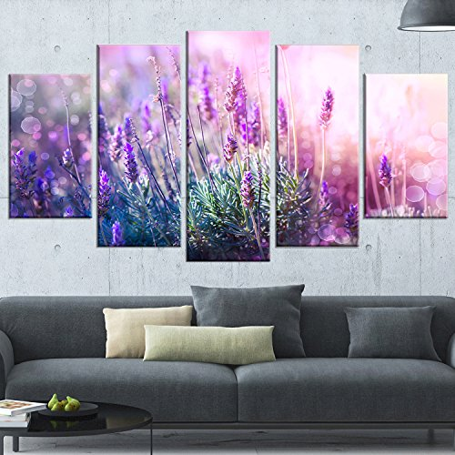 Designart 5 Piece Growing and Blooming Lavender Floral Photo