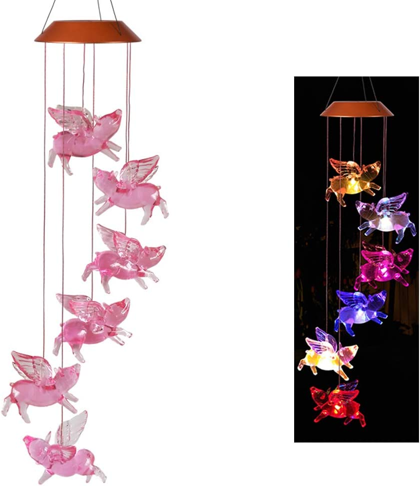 xxschy LED Solar Fly Pigs Wind Chimes Outdoor - Waterproof Solar Powered LED Changing Light Color 6 Flying Pigs Mobile Romantic Wind-Bell for Home, Party, Festival Decor, Night Garden Decoration