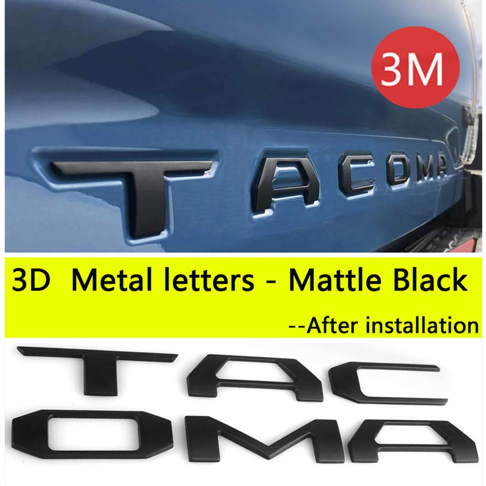 Auto safety for Toyota Tacoma 2016 2017 2018 2019 Tailgate 3D Metal Letters Insert with 3M Adhesive (Matte Black) (Not Decal Sticker)