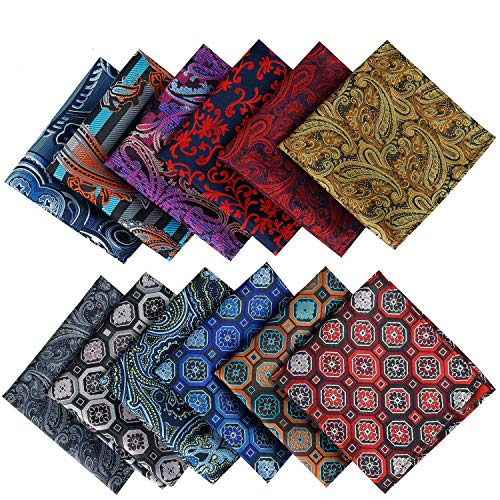 Jeatonge Pocket Square For Men Assorted 12 Pack (Style 10)