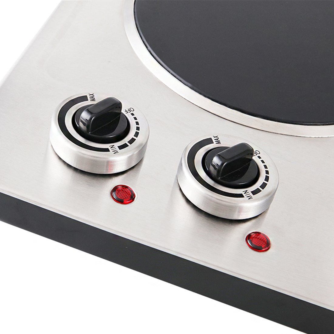 Cusimax 1800W Infrared Cooktop, Ceramic Double Countertop Burner with Dual Temperature Control, CMIP-C180, Stainless Steel