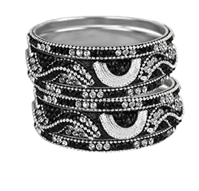 bd2a2f4dc7a Amazon.com: Sparkly Crystal Rhinestone Bling Bangle Bracelet Set of 6  Black-Silver: Jewelry