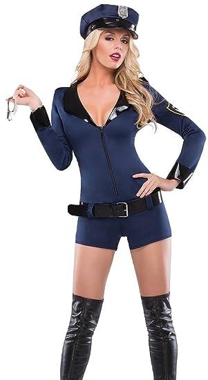 Neues blau 4-teiliges Polizei Frau Cop Kostüm Kleid Halloween Party ...