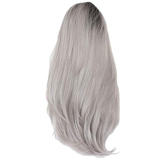 wig Peluca de Pelo Largo, 64 cm para Mujer, Negro, Gris, Degradado ...