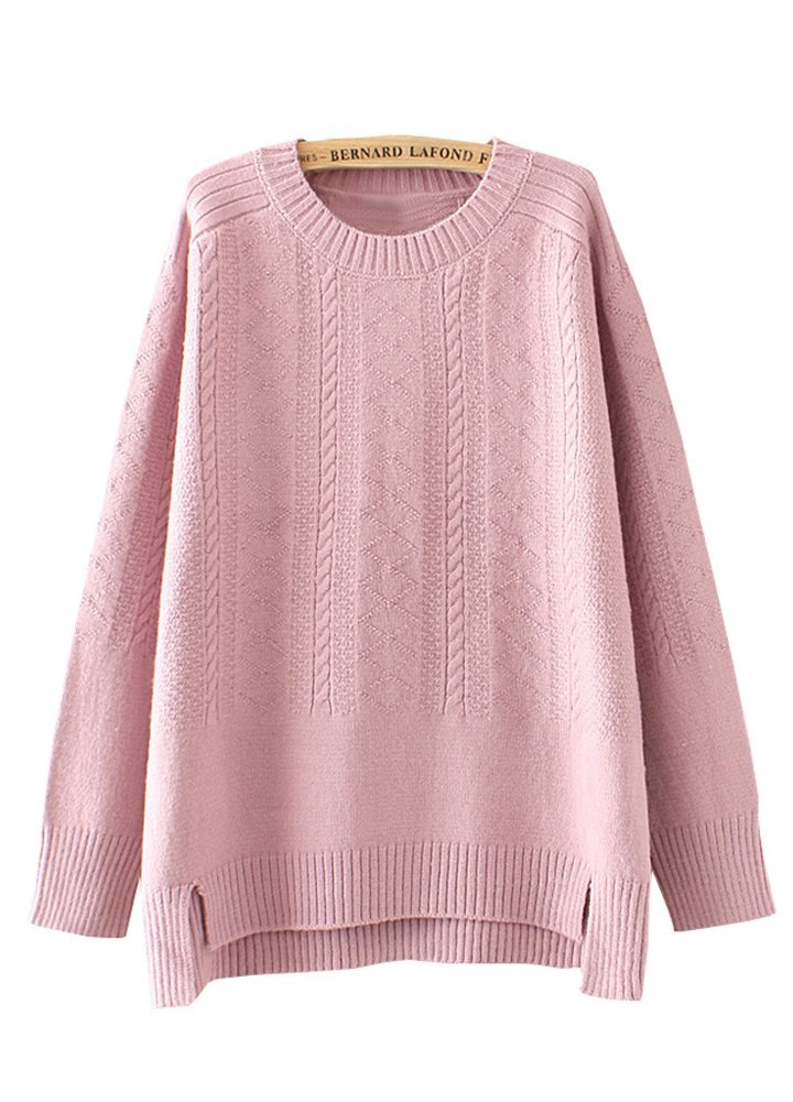 Wicky LS Women's Hi-low Long Sleeve Knitted Pullover Sweater Style 2 Pink S