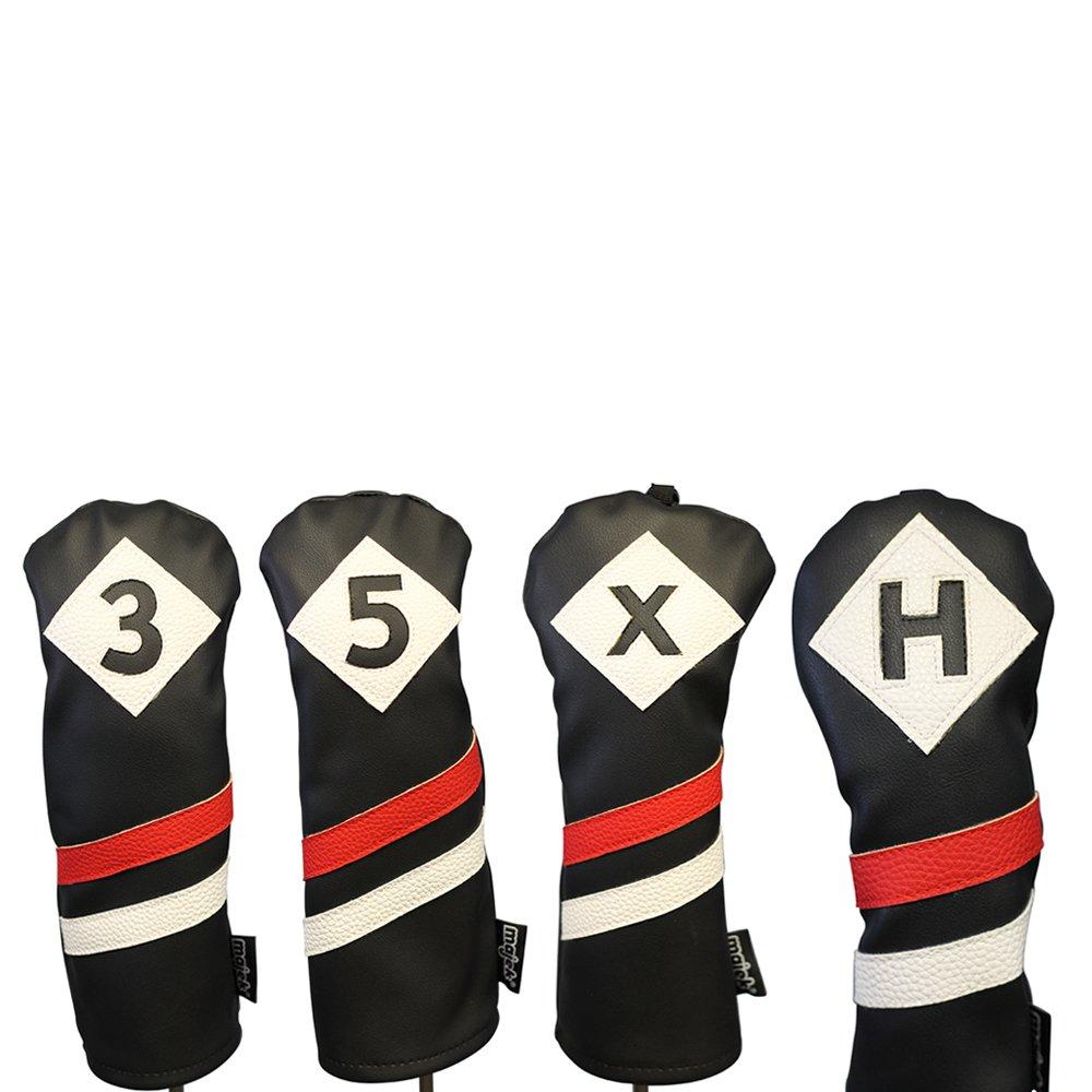 Majekレトロゴルフヘッドカバー3ブラックレッドandホワイトヴィンテージレザースタイル3 5 x H Fairway Wood andハイブリッドヘッドカバークラシックLook   B0771T45KF