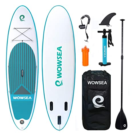 WOWSEA Tabla Inflatable Paddle para Surf, Paddle Board Hinchable con Tamaño de 320 * 81 * 15cm, Carga hasta 150kg