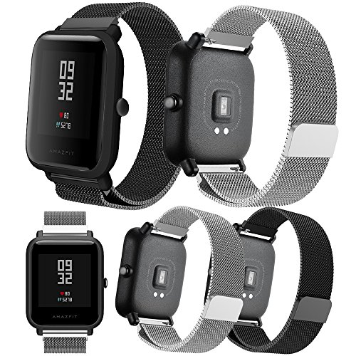 Por Xiaomi Amazfit Bip Younth correa,Senter 20mm Milanese Loop Adjustable Stainless Steel Replacement Strap correa Por Xiaomi...