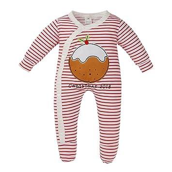 eadd7bd39bba7 Smileq Noël nouveau-né Grenouillère nouveau-né Filles garçons de Noël Body  à rayures