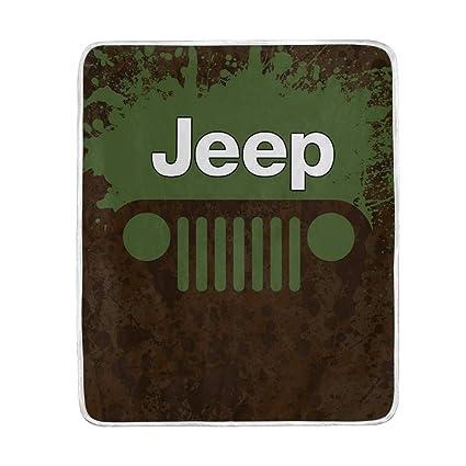 84117272fc5 Amazon.com: YOHHOY Flannel Fleece Luxury Blanket Jeep Green Throw  Lightweight Cozy Plush Microfiber Solid Blanket: Home & Kitchen