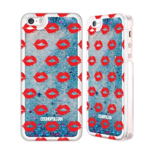 Official Cosmopolitan Red Kiss Mark Sky Blue Liquid Glitter Case Cover for Apple iPhone 5 / 5s / SE