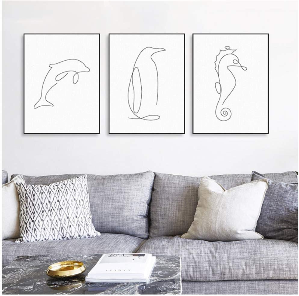 XingChen Arte de Pared 3x20x30cm sin Marco Moderno Picasso Minimalista Animales de mar Cartel Abstracto Animales Pintura Cuadros de Pared para decoración de Vida