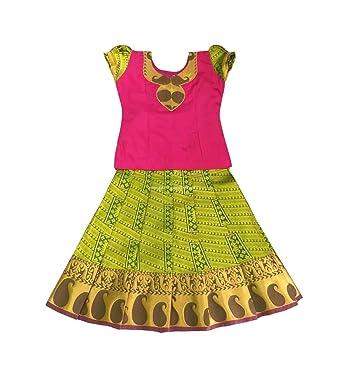 038b07dbea Pattu Pavadai Silk Pavada Sattai Green and Pink for Baby Girls and Kids:  Amazon.in: Clothing & Accessories