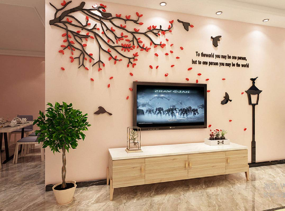 Buy Encoft Red Leaf Tv Wall Decor Sticker Bedroom Livingroom Wall Art Decoration 188cm X 110cm Online At Low Prices In India Amazon In
