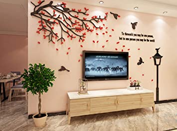 Encoft Red Leaf Tv Wall Decor Sticker Bedroom Livingroom Wall Art Decoration 188cm X 110cm Kitchen Dining