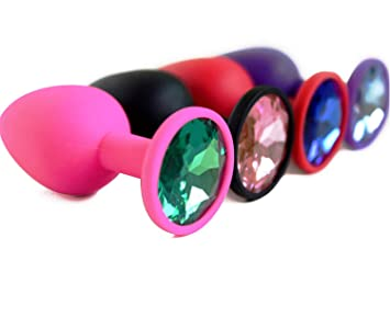 4c3c7f966ea Butt Glass Plug Small Medium Large Silicone Butt Plug with Crystal Jewelry  Smooth Touch Anal Plug