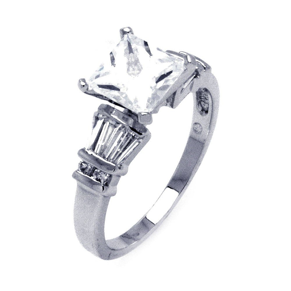 Clear Princess Cut Cubic Zirconia Center Round Baguette Sides Bridal Ring Sterling Silver Size 7