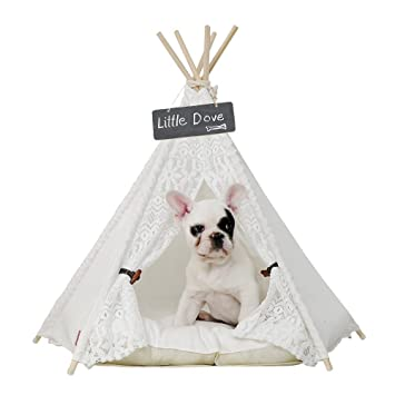 best service 640d3 49af8 little dove Pet Teepee Dog(Puppy) & Cat Bed - Portable Pet Tents & Houses  for Dog(Puppy) & Cat Lace Style (with or Without Optional Cushion)