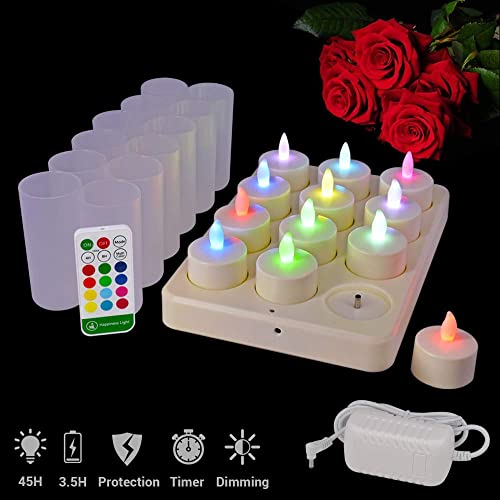 HL Rechargeable Tealights, Flameless Multicolor Flickering Candles DC Led Light with Remote for Centerpiece Valentine s Day Wedding Party Home RGB, 12 Pack