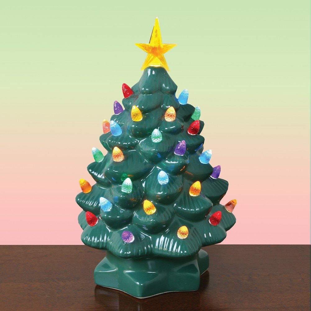 Amazon.com: Nostalgic Ceramic Christmas Tree - LED Lighted Mini Tree ...