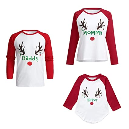 a26ae96bc1 Iusun Matching Family Pajamas Christmas Deer Letter T-Shirt Pullover Tops  Long Sleeves Sleepwear Flannel