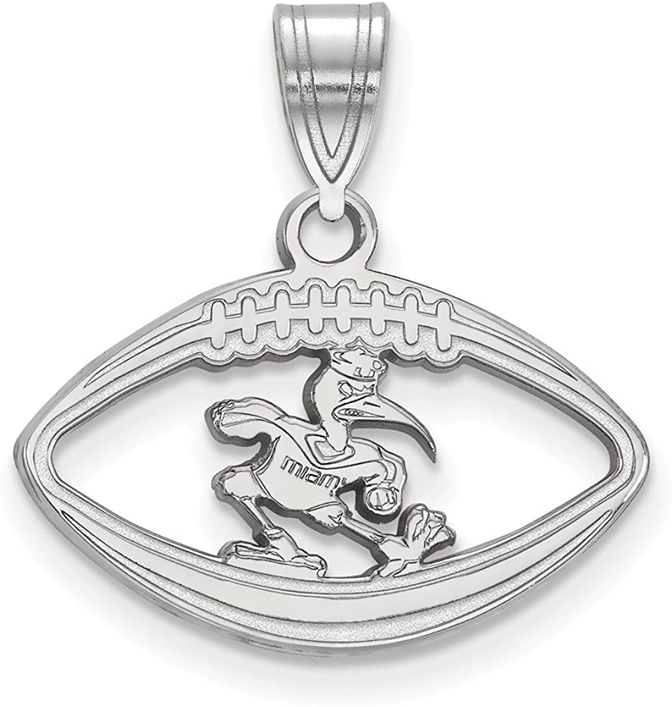 Solid 925 Sterling Silver Official University of Miami Pendant Charm in Football 20mm