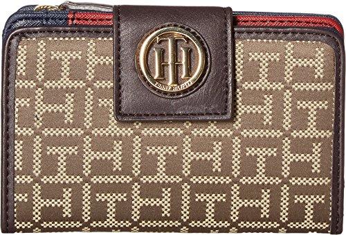 Tommy Hilfiger Women's TH Serif Signature - Medium Snap Flap Wallet Tan/Dark Chocolate Wallets (Medium Flap)