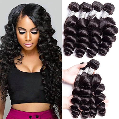 - Maxine Malaysian Virgin Hair Loose Wave Hair Weave 4 Bundles 400g 10A Unprocessed Loose Deep Wave Virgin Human Hair Weave Natural Black(14 16 18 20inch)