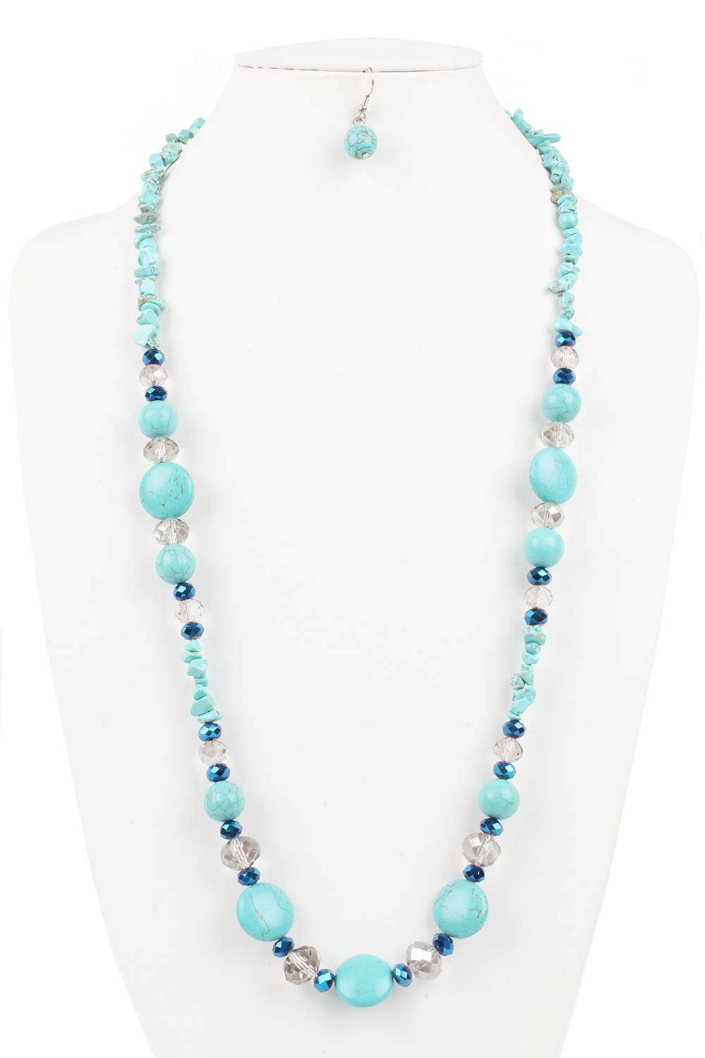 Judys Fashion Mix Styles Gemstone Turquoise Beads Long Necklace with Earring