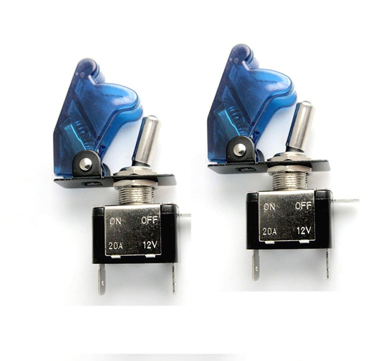 HOTSYSTEM 2x 12V 20A Interrupteur à Bascule ON/OFF pour Voiture Bateu avec LED bleu EKDE-CP-03x2-1