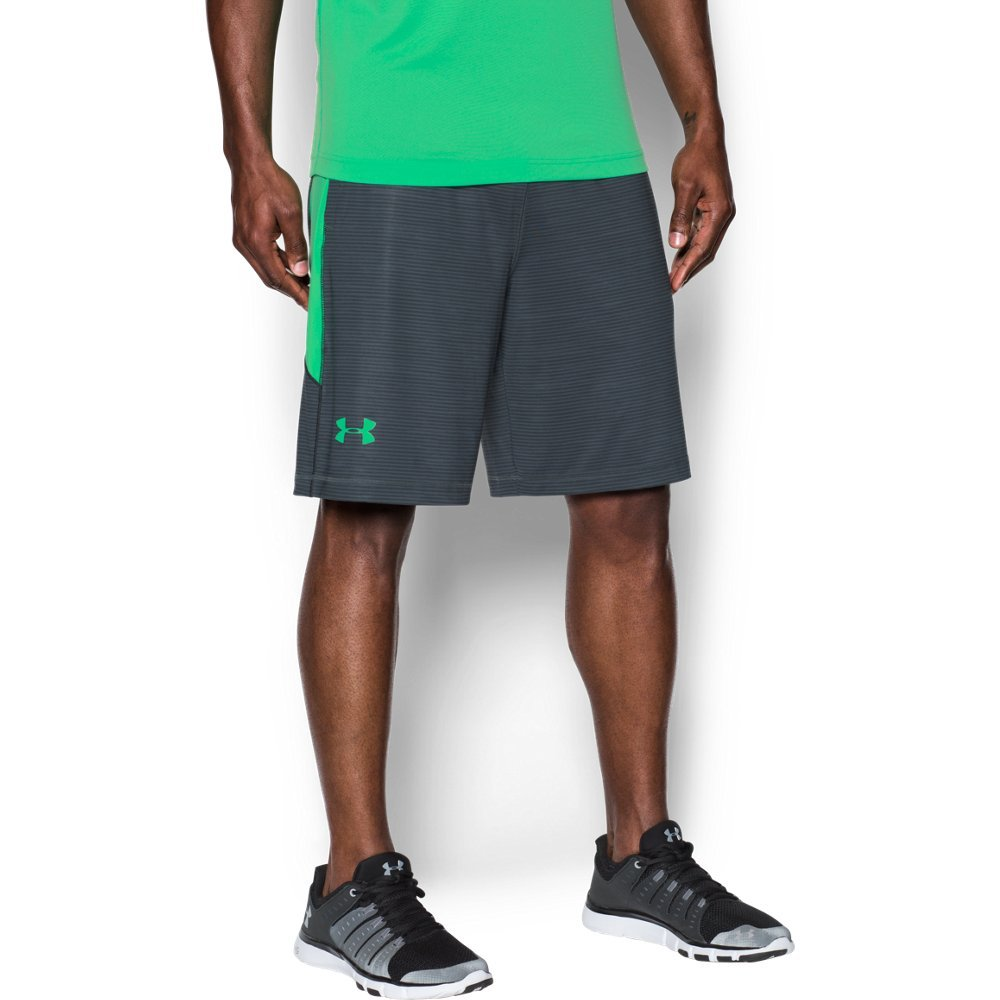 Under Armour Men's Raid Printed 10'' Shorts, Stealth Gray (020)/Vapor Green, Small by Under Armour